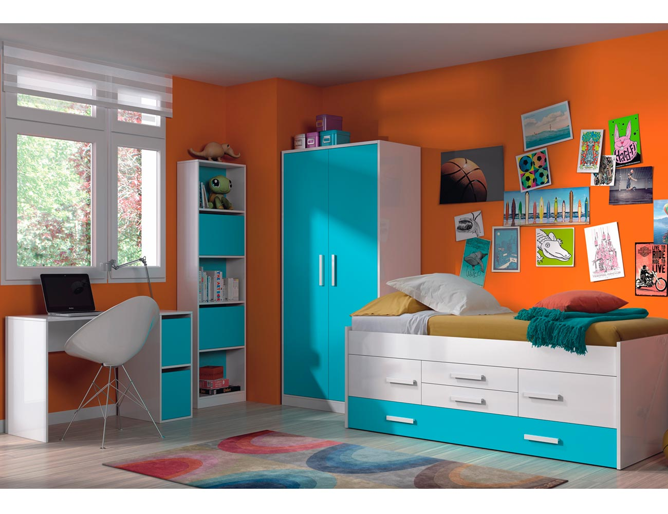 Dormitorio juvenil cama nido armario azu 21