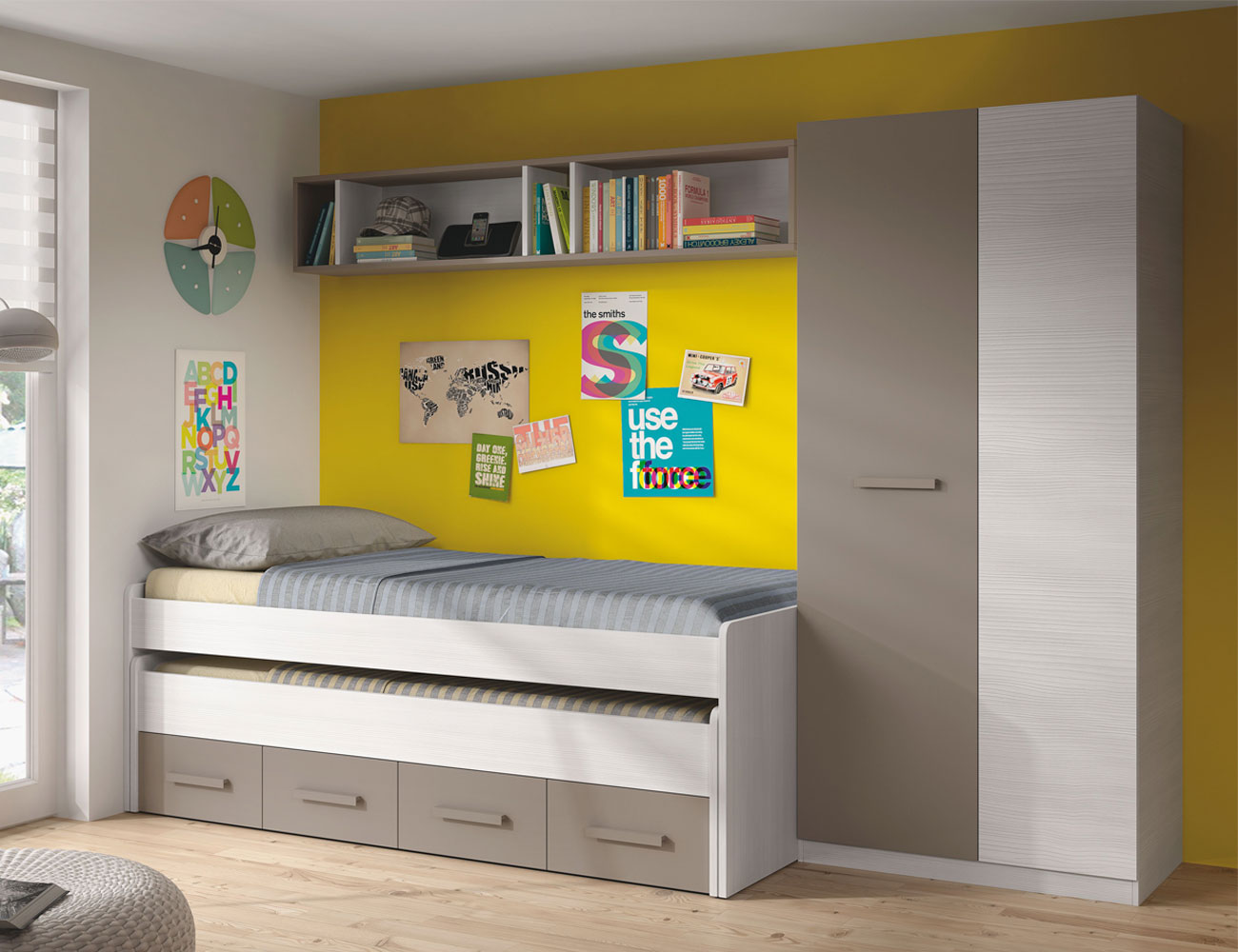Dormitorio juvenil cama nido armario basalto