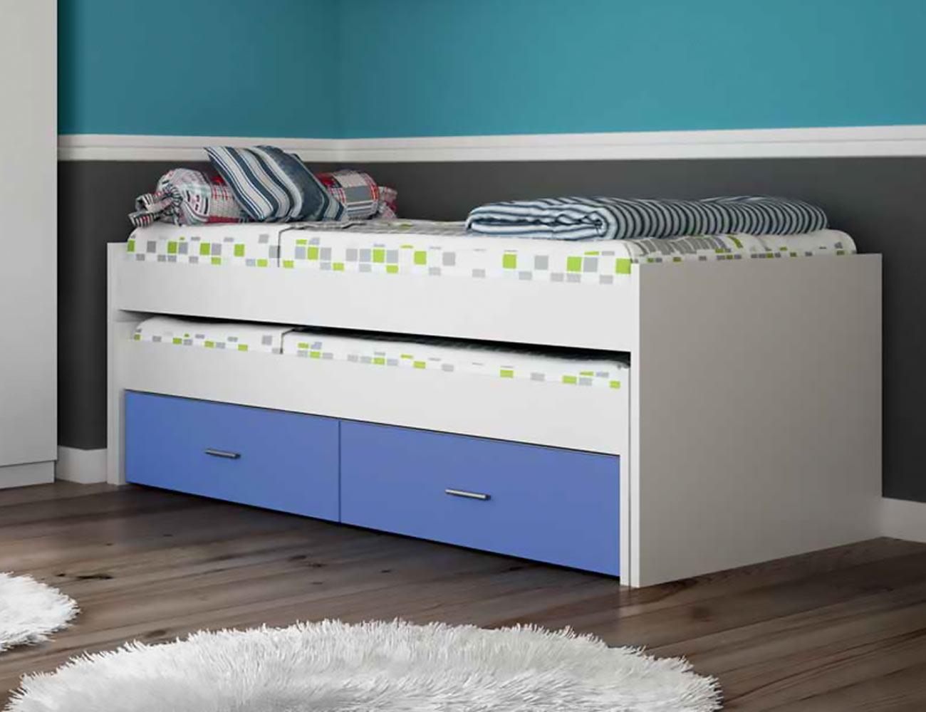 Dormitorio juvenil con armario en color blanco con azul for Dormitorio juvenil cama nido