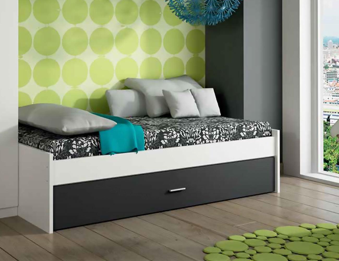 Dormitorio juvenil cama nido blanco grafito