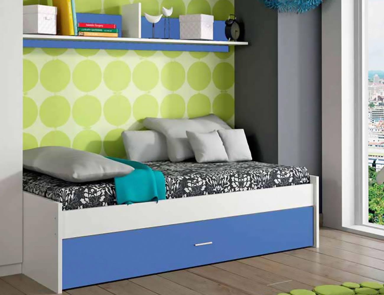 Dormitorio juvenil cama nido blanco