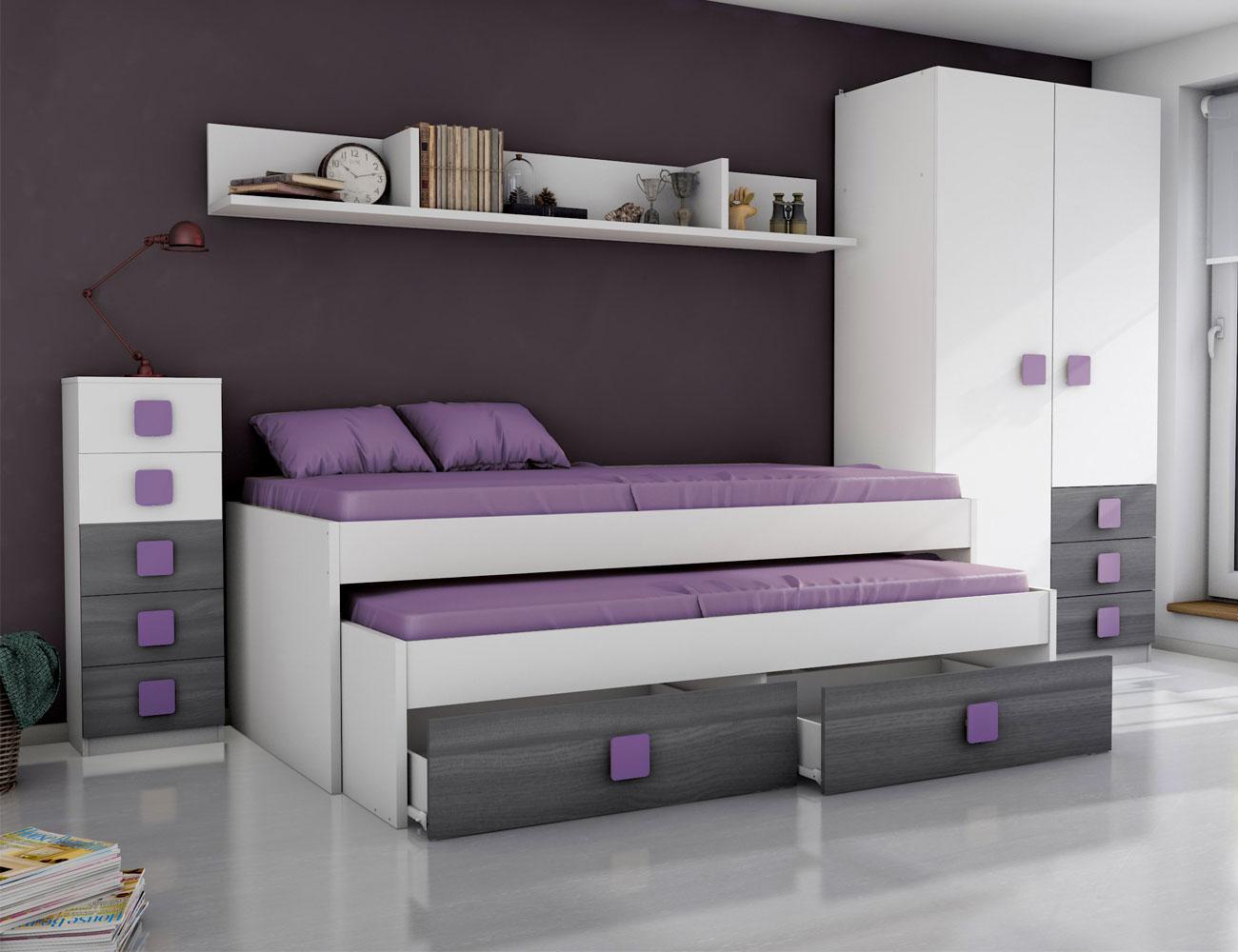 Dormitorio juvenil ceniza azul5