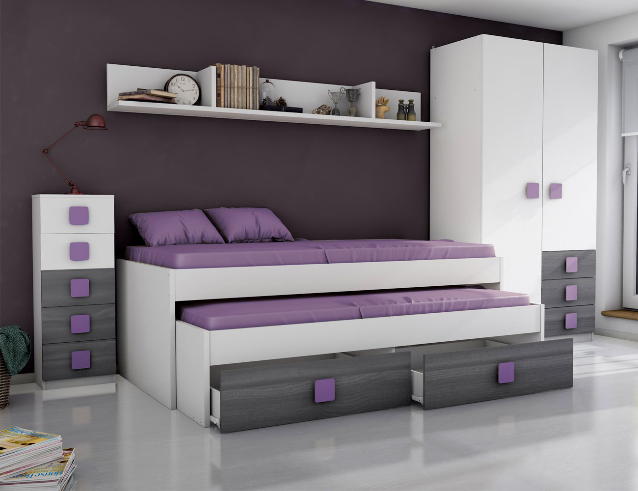 Dormitorio juvenil ceniza azul6