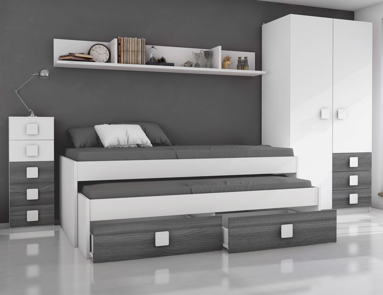 Dormitorio juvenil ceniza blanco