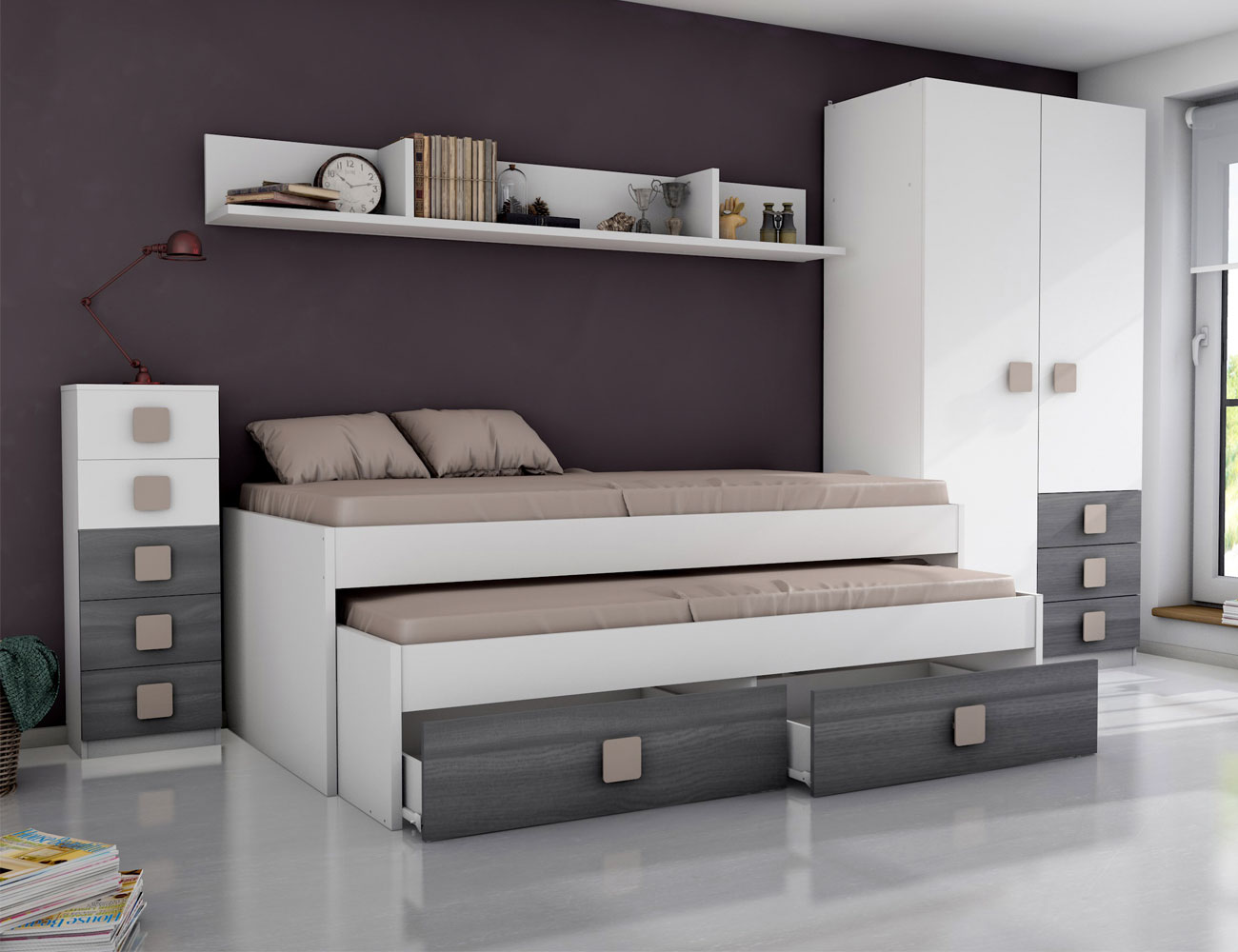 Dormitorio juvenil ceniza moka
