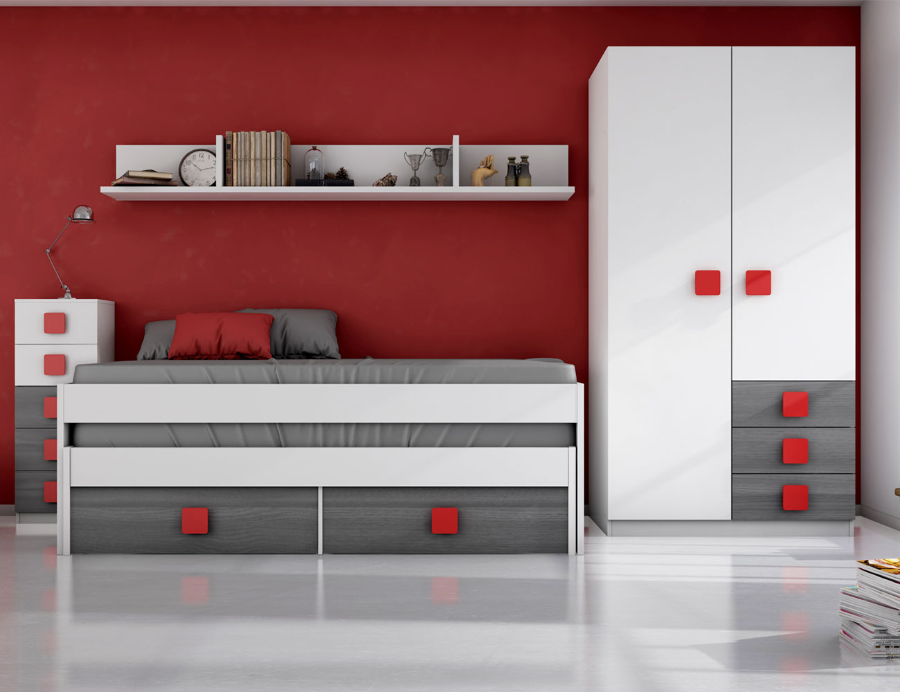Dormitorio juvenil ceniza rojo