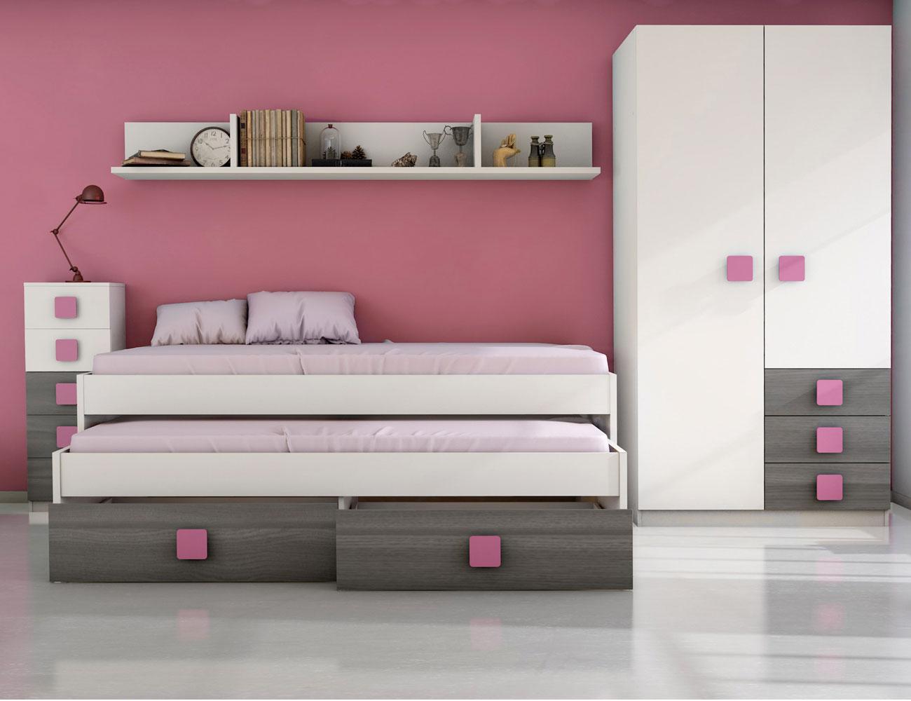 Dormitorio juvenil ceniza rosa