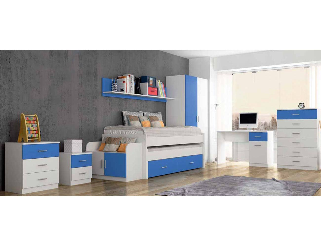 Dormitorio juvenil comodin mesita noche banqueta estanteria cama compacto nido mesa estudio sinfonier armario