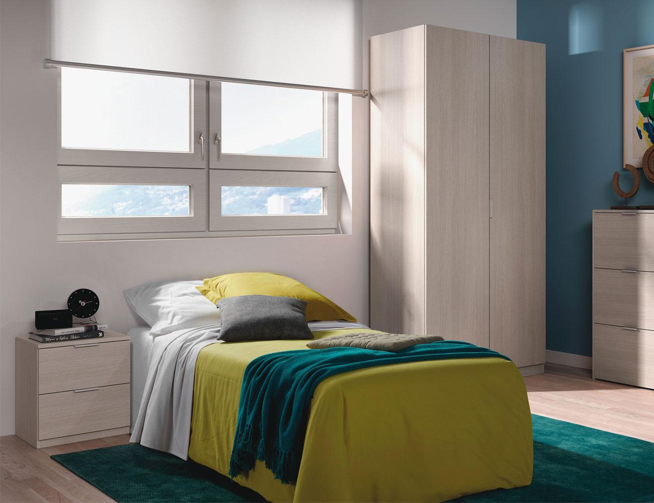 Dormitorio juvenil con armario roble