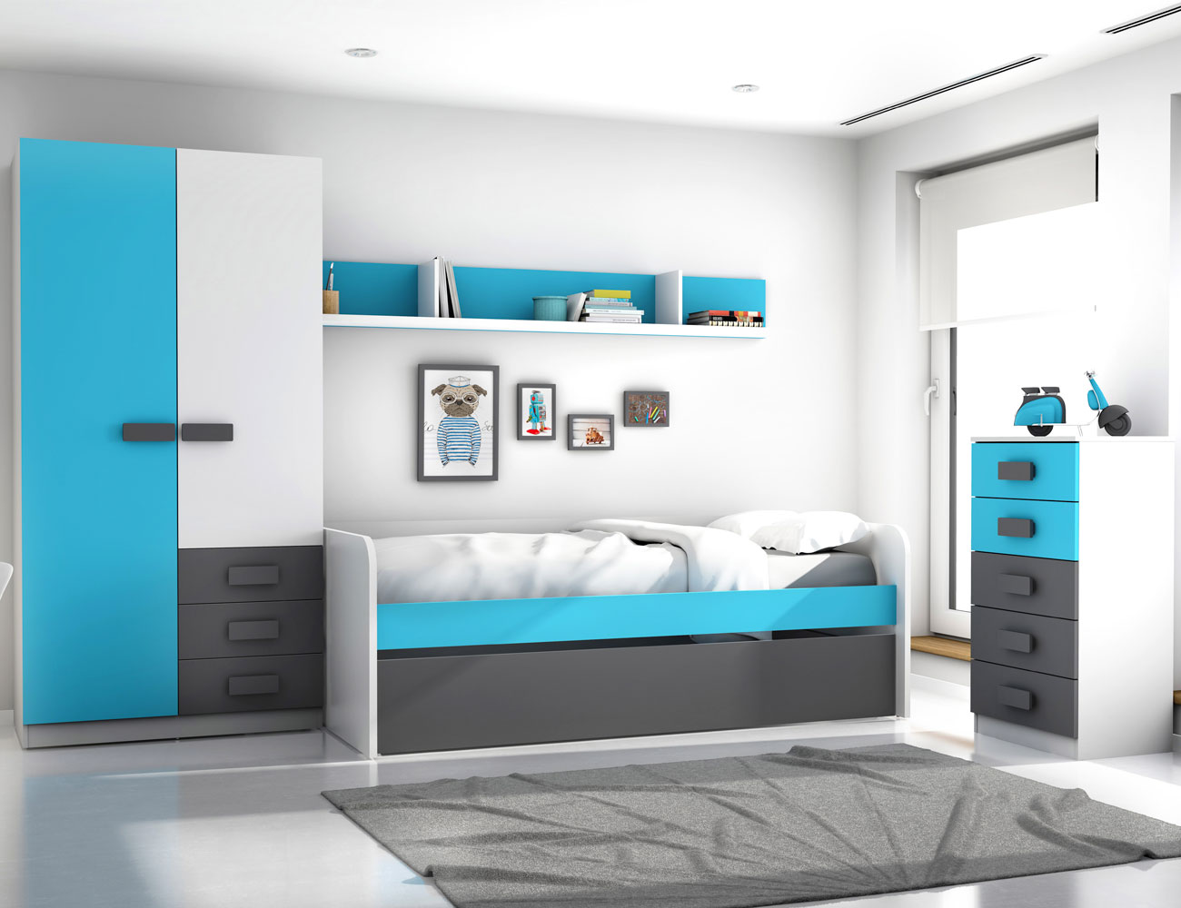 Dormitorio juvenil grafito azul