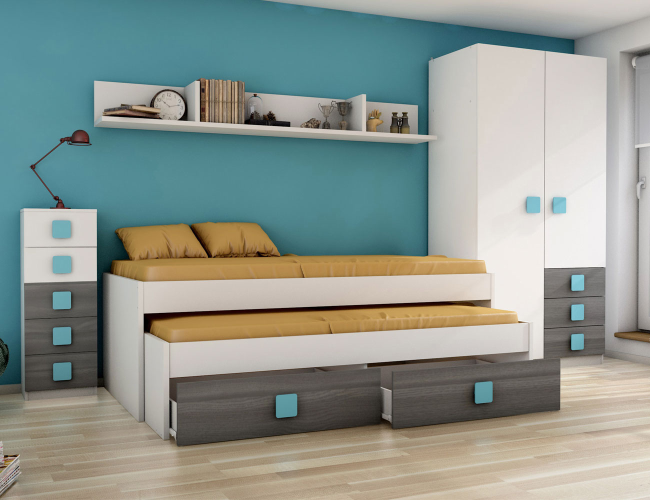 Dormitorio juvenil grafito ceniza azul5