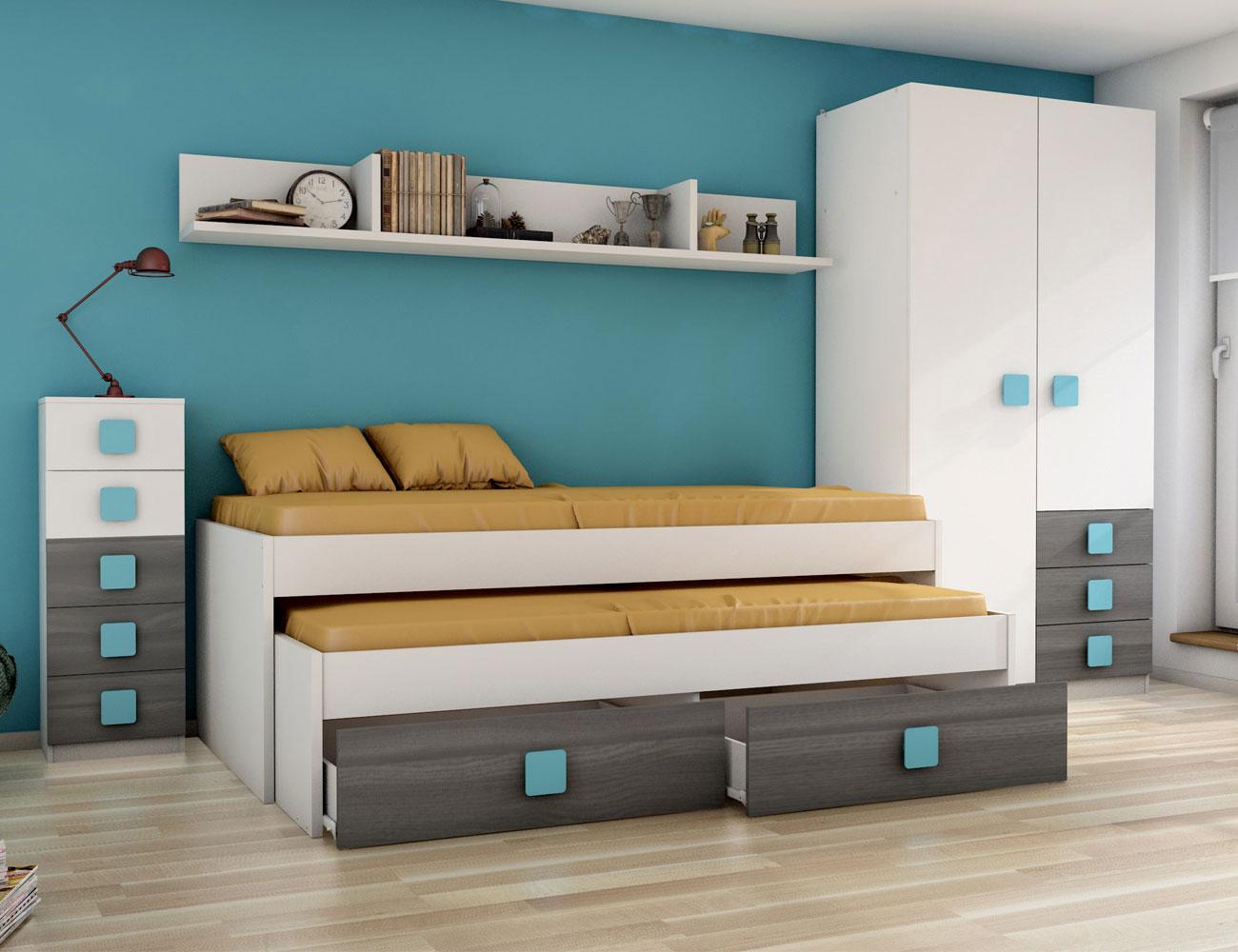 Dormitorio juvenil grafito ceniza azul6
