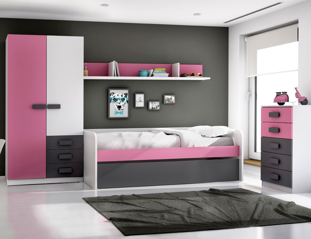 Dormitorio juvenil grafito rosa1