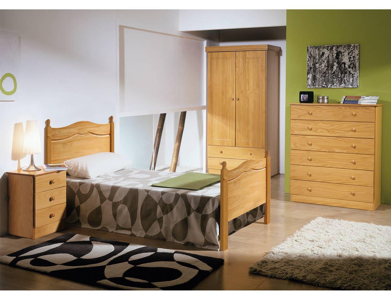Dormitorio juvenil malaga madera pino provenzal