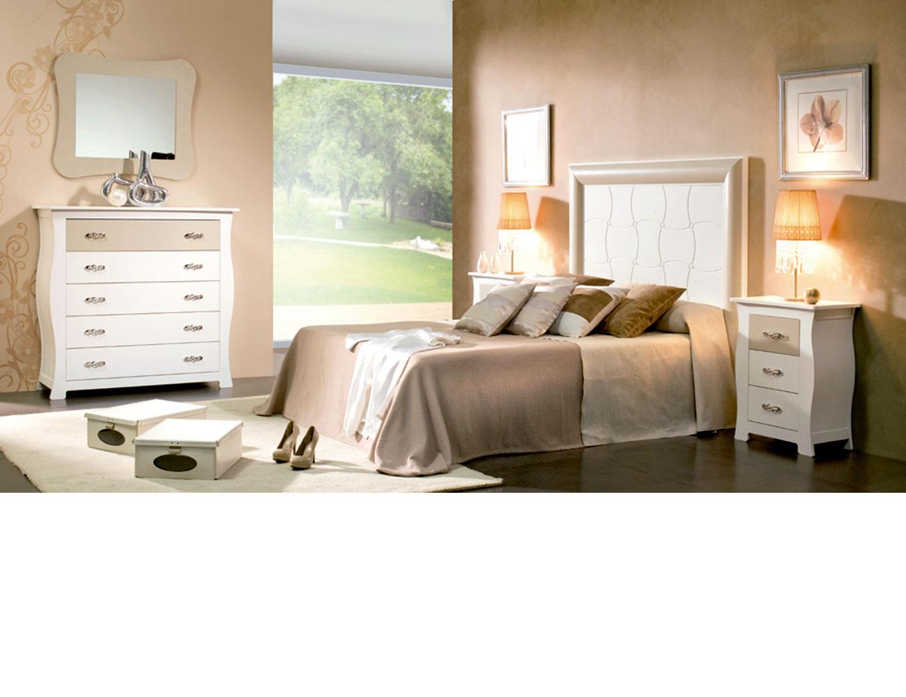 Dormitorio matrimonio cabecero grabado capitone comoda color 504 506