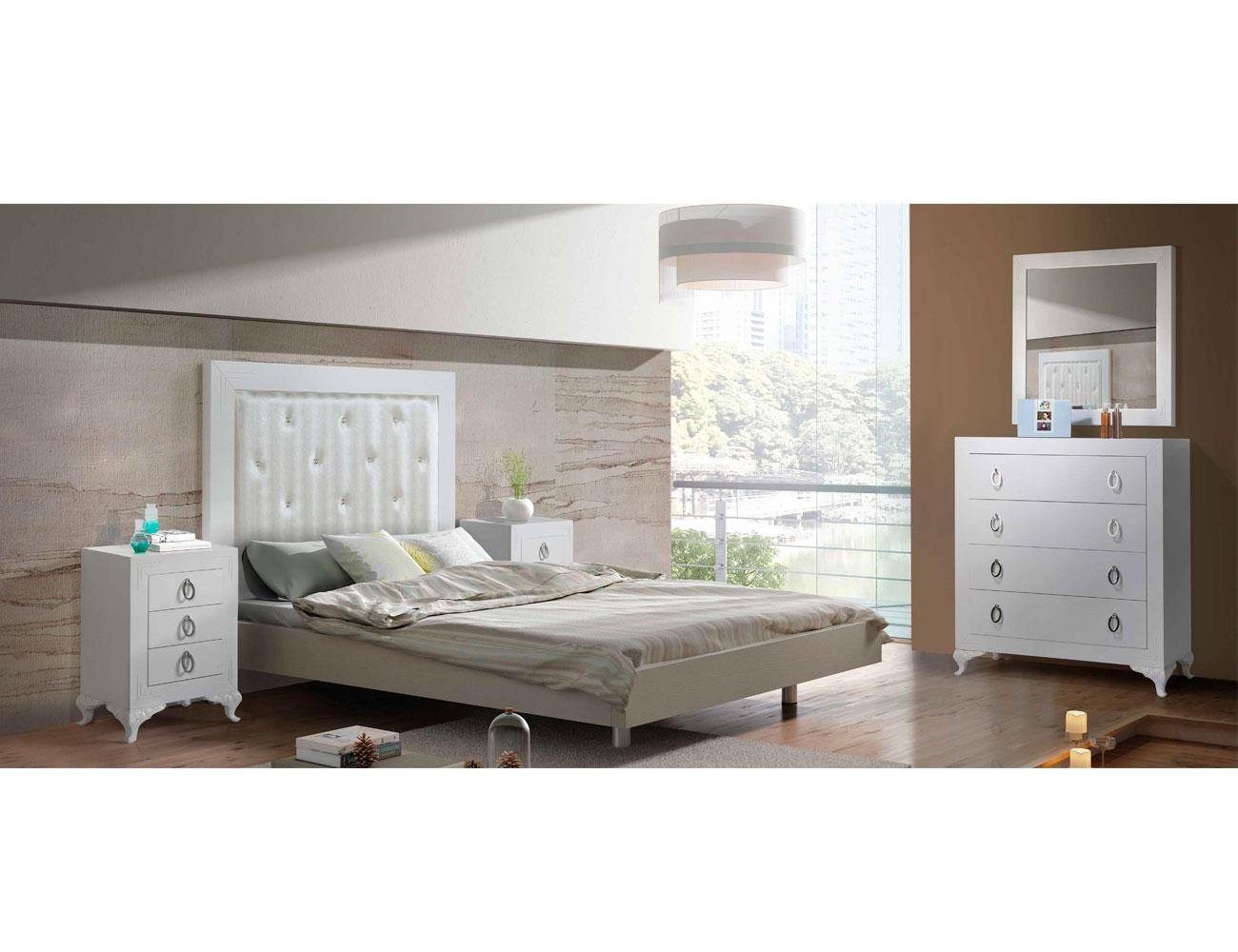 Dormitorio matrimonio cabecero tapizado comoda