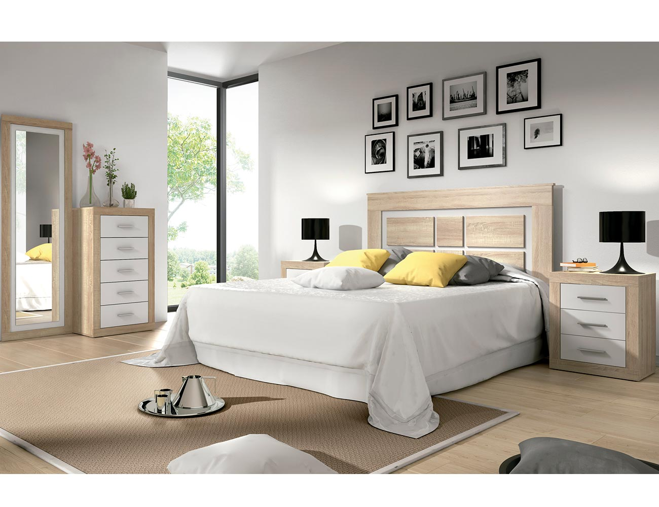 Dormitorio matrimonio estilo moderno cambrian blanco 2134 for Comoda matrimonio