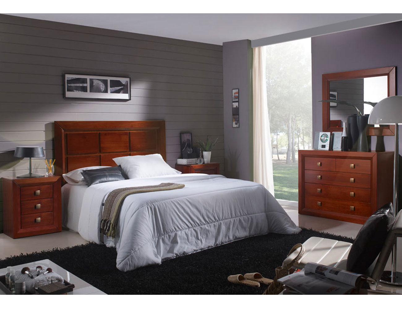 Dormitorio matrimonio comoda 5c nogal madera dm