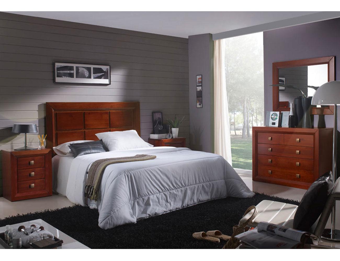 Dormitorio matrimonio comoda 5c nogal madera dm1