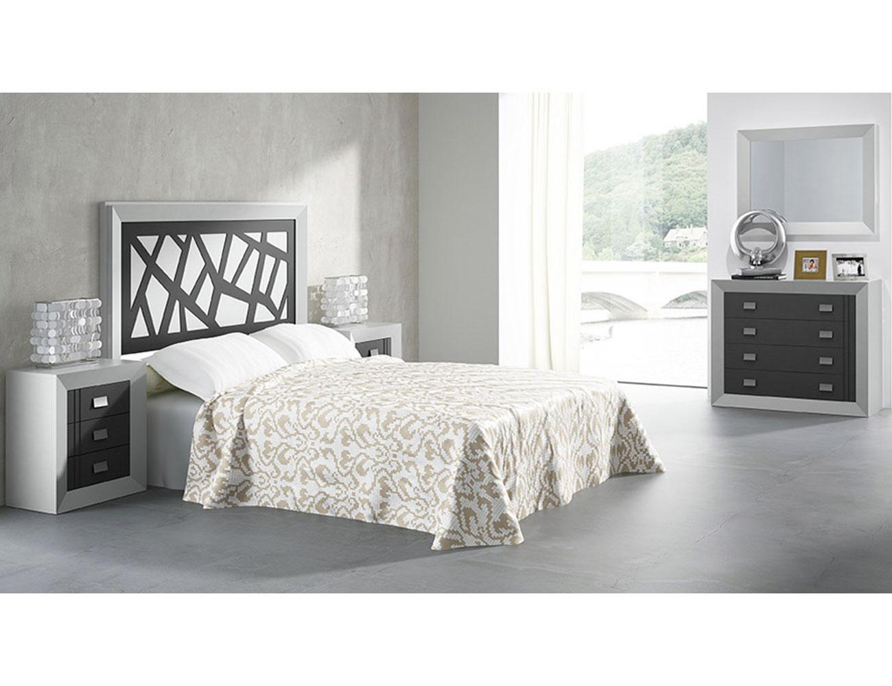 Dormitorio matrimonio comoda blanco grafito madera dm