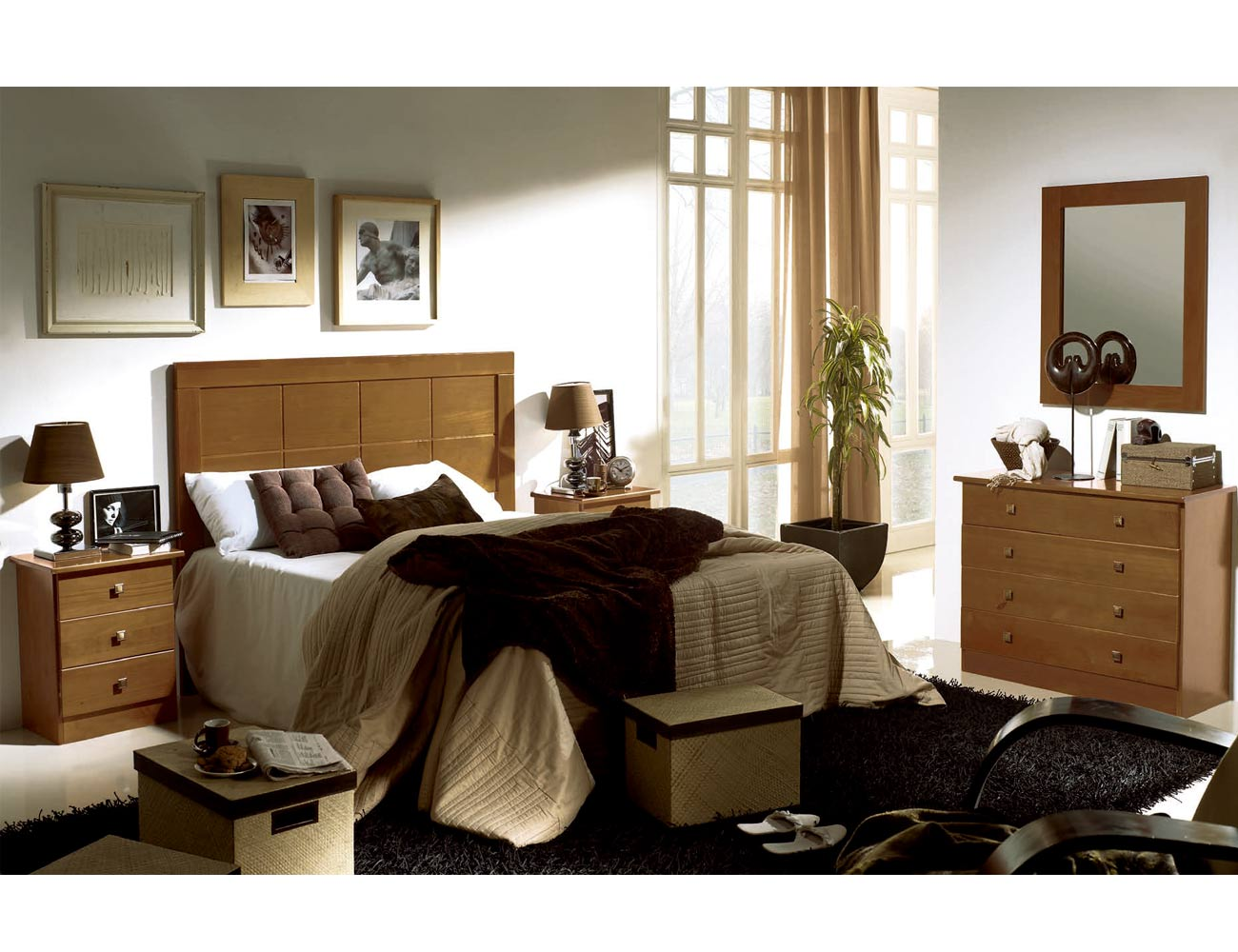 Dormitorio matrimonio kenia madera nogal