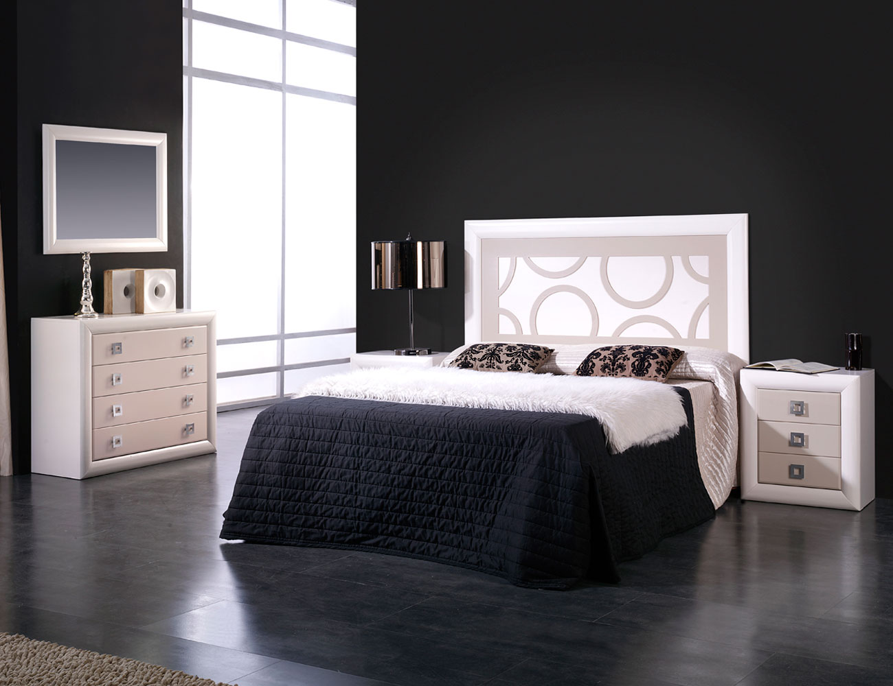 Dormitorio matrimonio lacado blanco roto piedra2