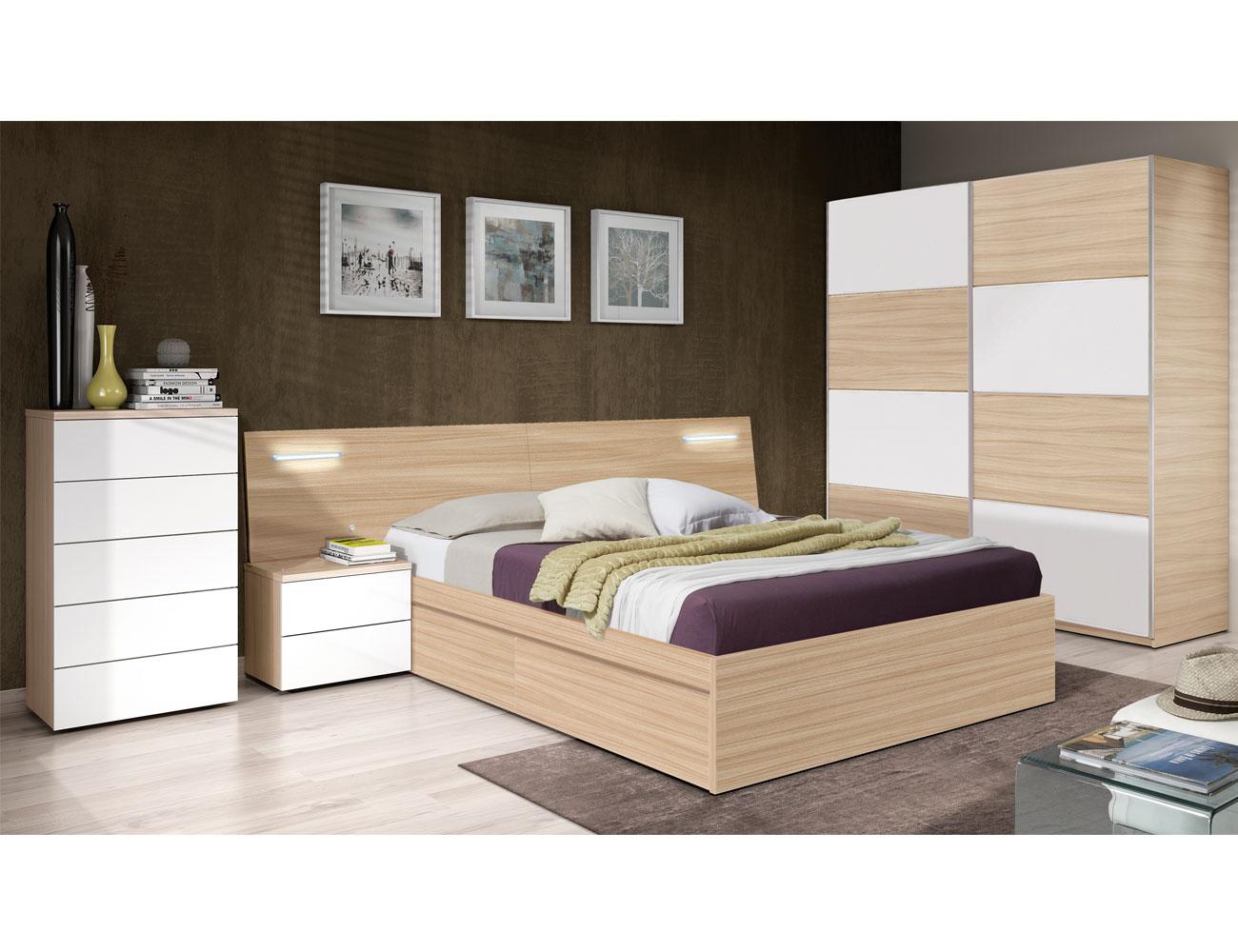 Dormitorio de matrimonio con leds en roble natural con blanco brillo factory del mueble utrera - Fotos de camas bonitas ...