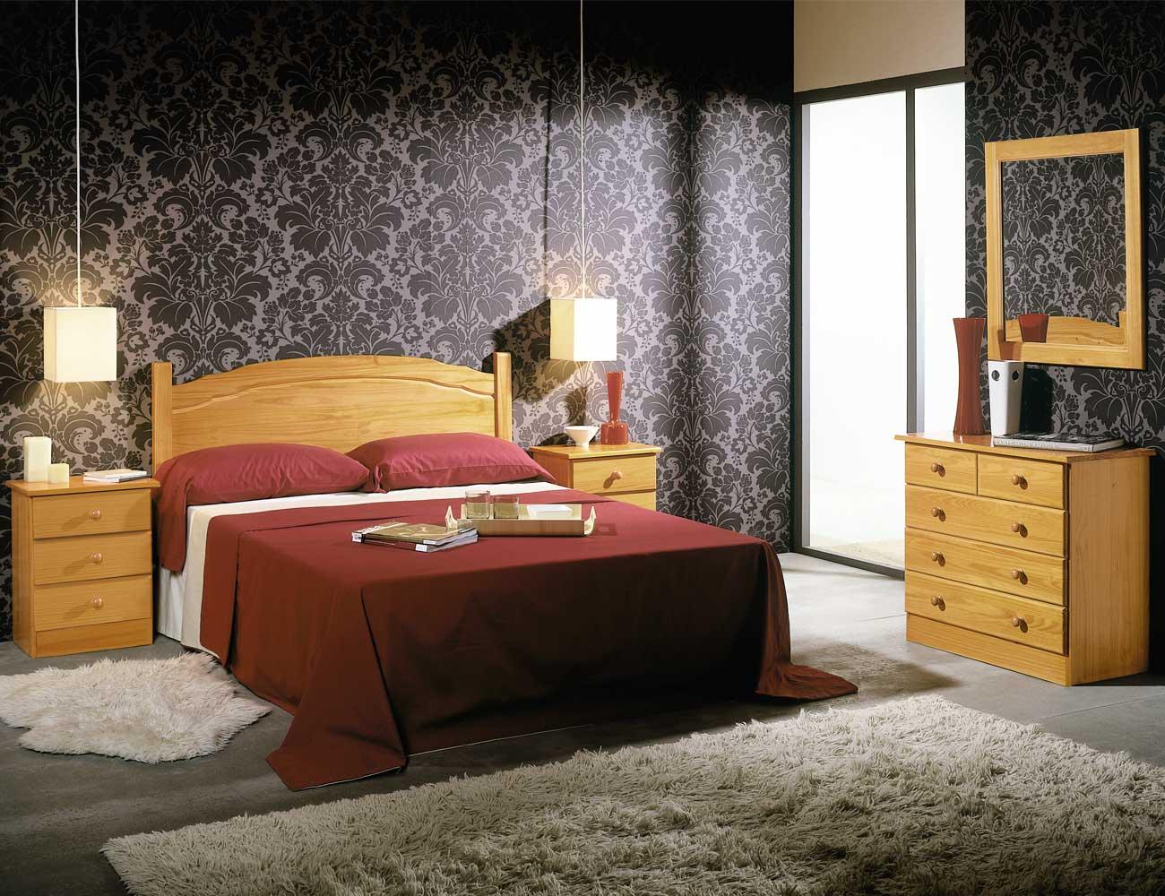 Dormitorio matrimonio madera pino