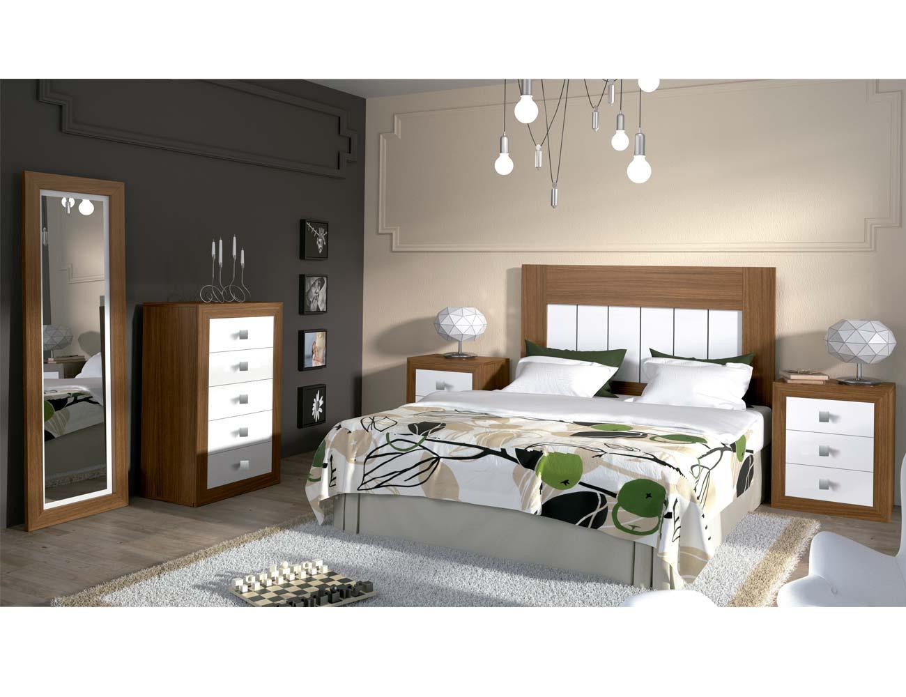 Dormitorio matrimonio moderno 08 nogal blanco