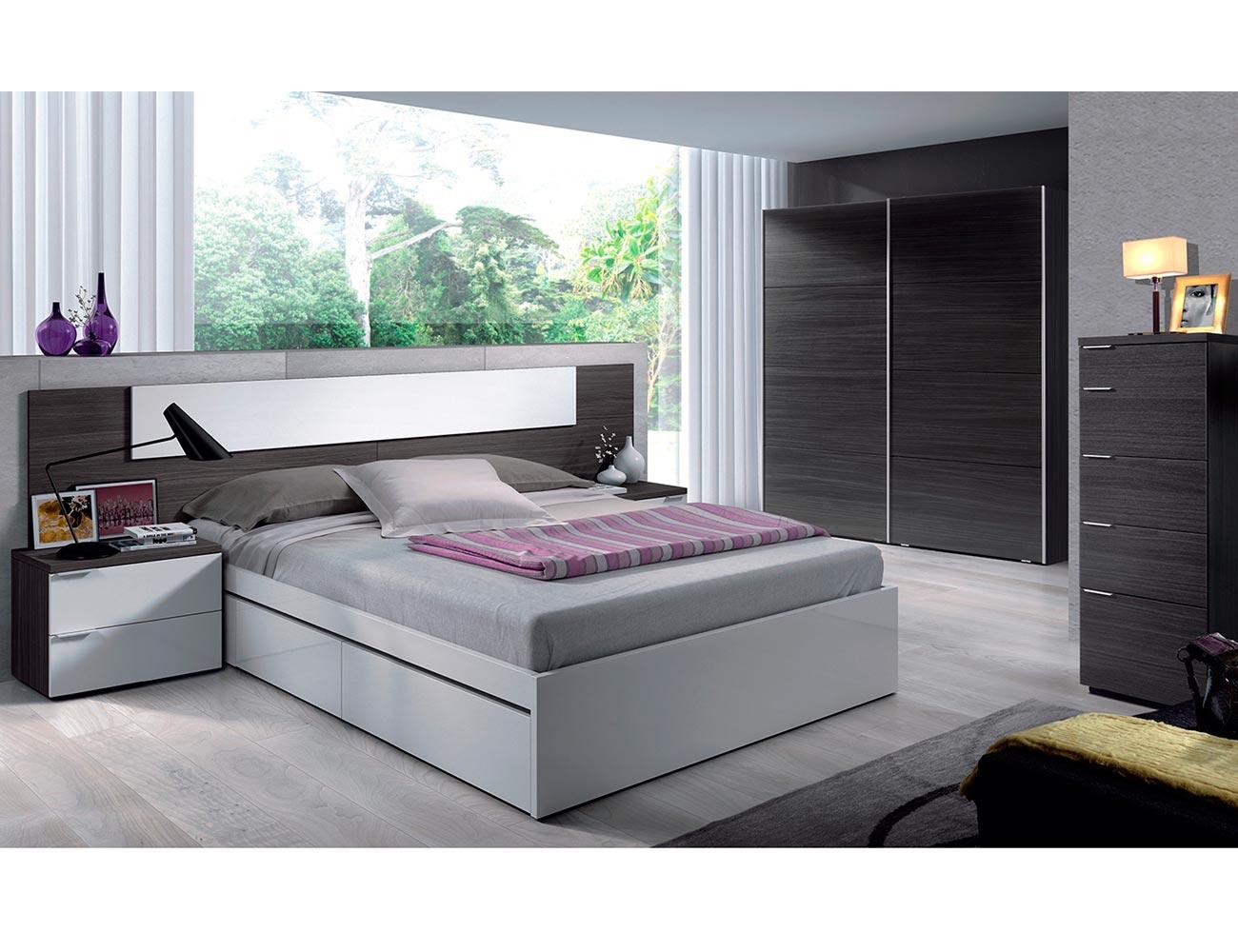 Dormitorio matrimonio moderno barato gris ceniza blanco 2
