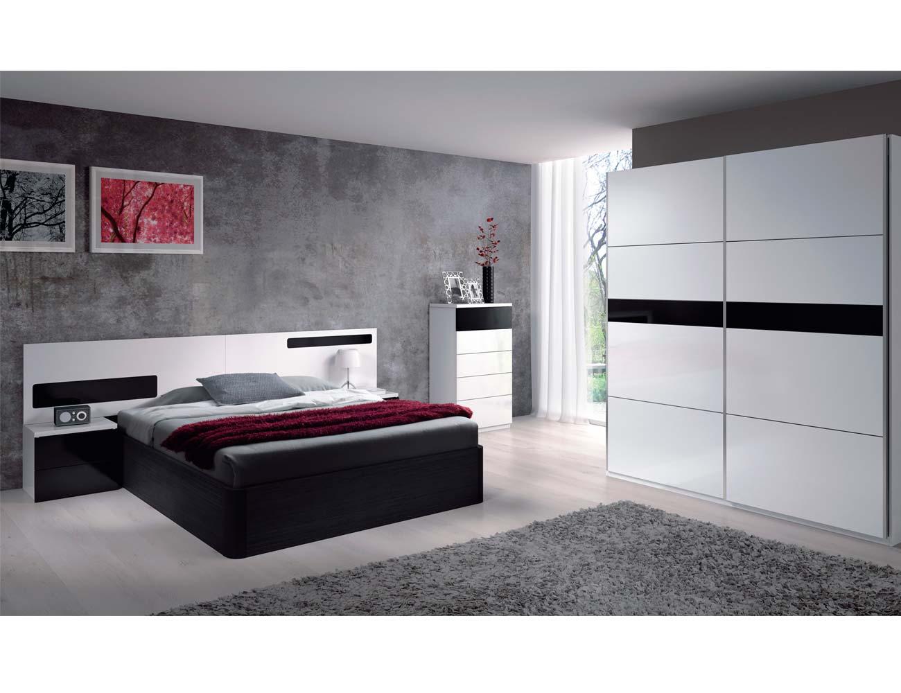 Dormitorio matrimonio moderno blanco brillo negro 2