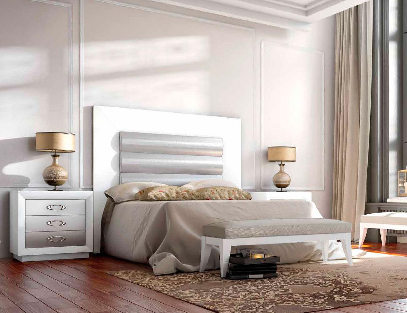 Dormitorio matrimonio neoclasico cabecero tapizado blanco