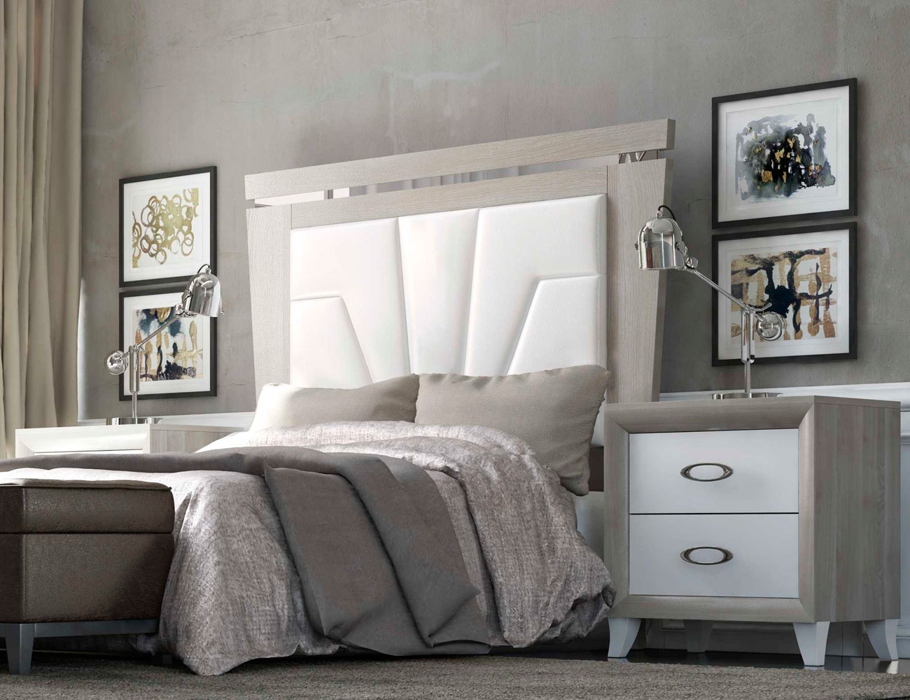 Dormitorio matrimonio romantico con desmaquilladora detalle