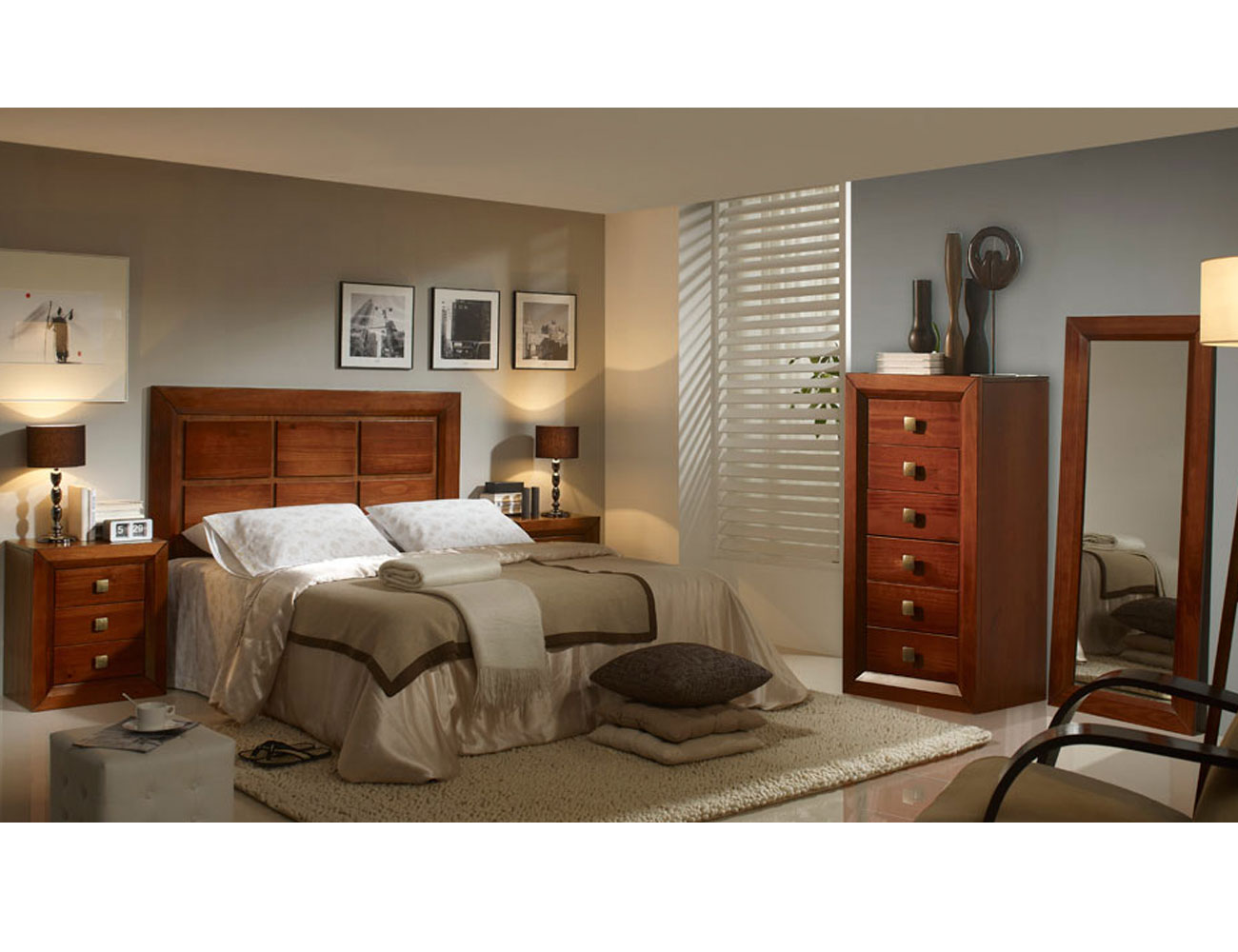 Dormitorio matrimonio sinfonier nogal madera dm4