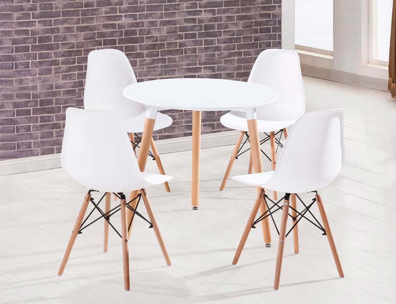 Foto detalle silla asiento resina blanco patas madera 2
