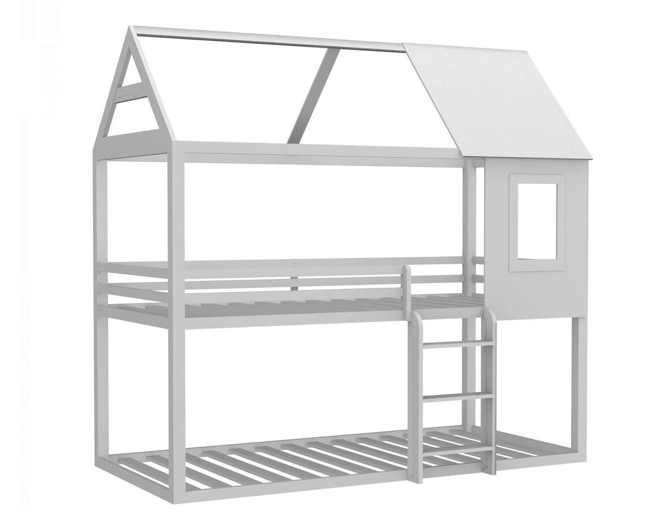 Litera casa madera blanca 1
