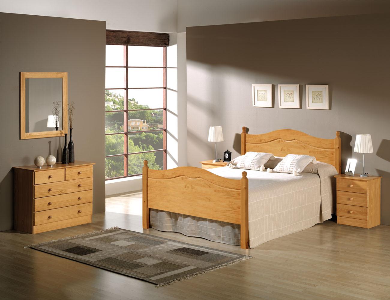 Armario 3 puertas en madera y en color miel 8077 for Muebles de pino color miel
