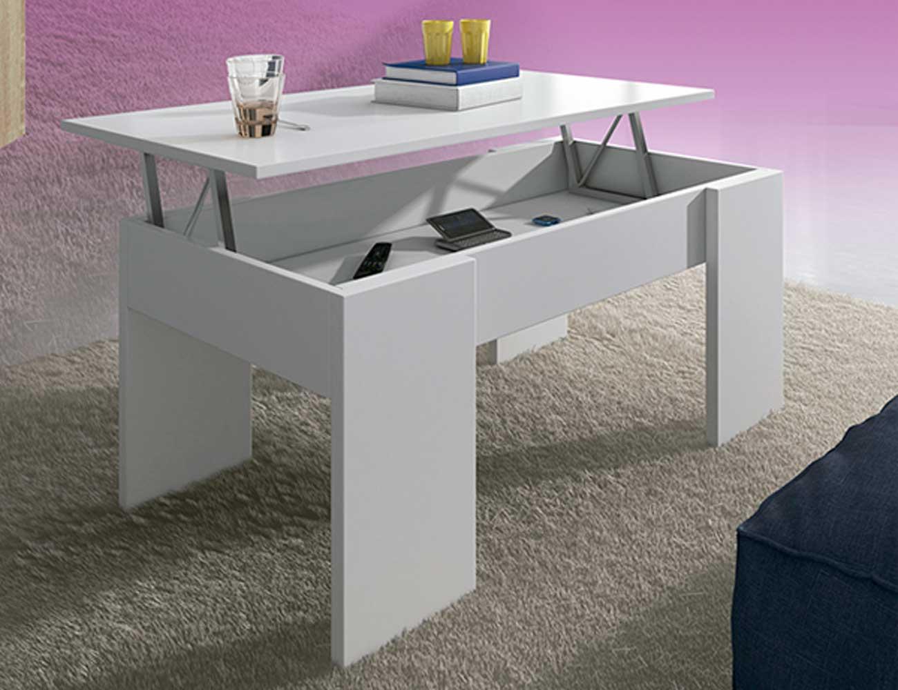 Mesa centro elevable 100 cm blanco