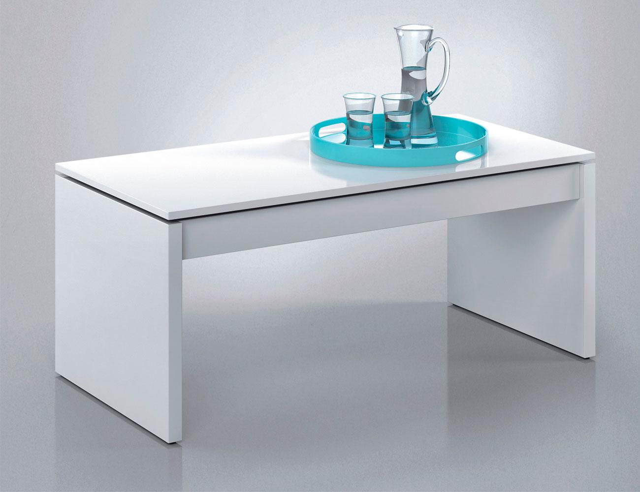 Mesa centro elevable blanco barata 1