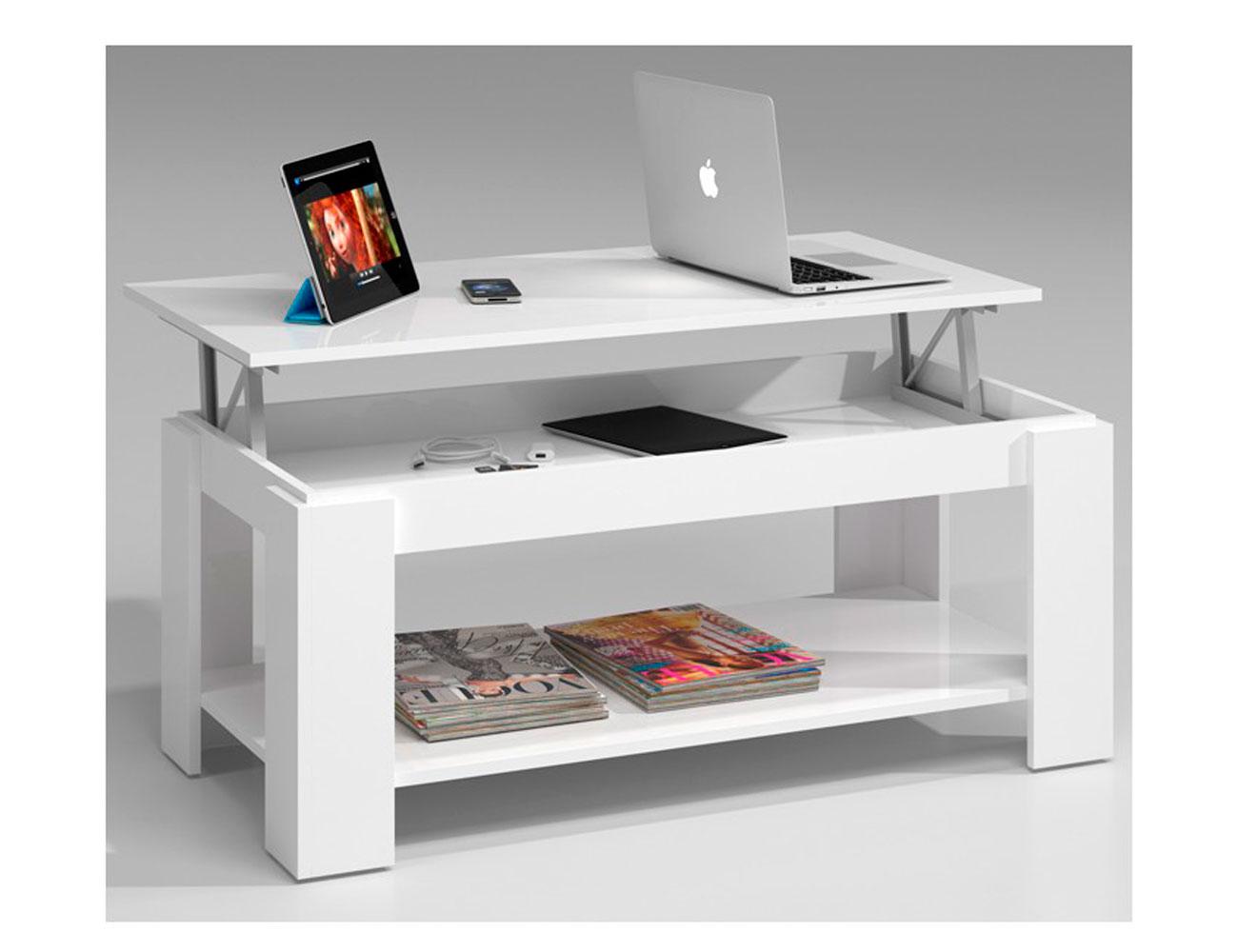 Mesa centro elevable blanco barata 4