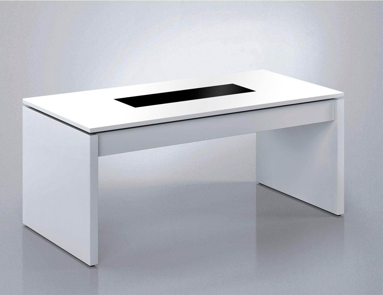 Mesa centro elevable con cristal blanco cerrado