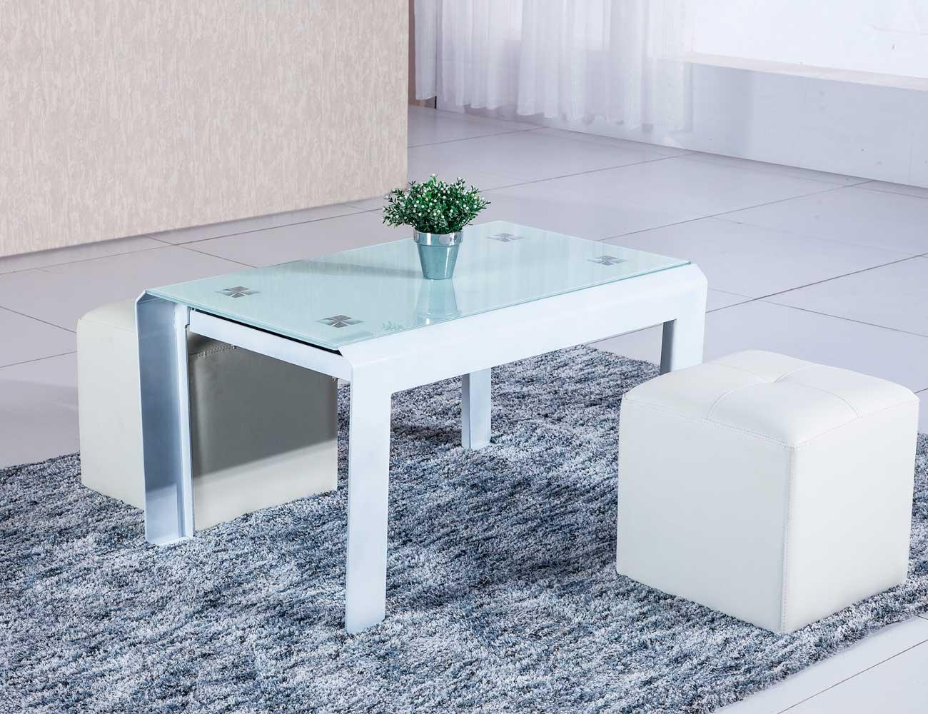Mesa centro elevable cristal templado blanco