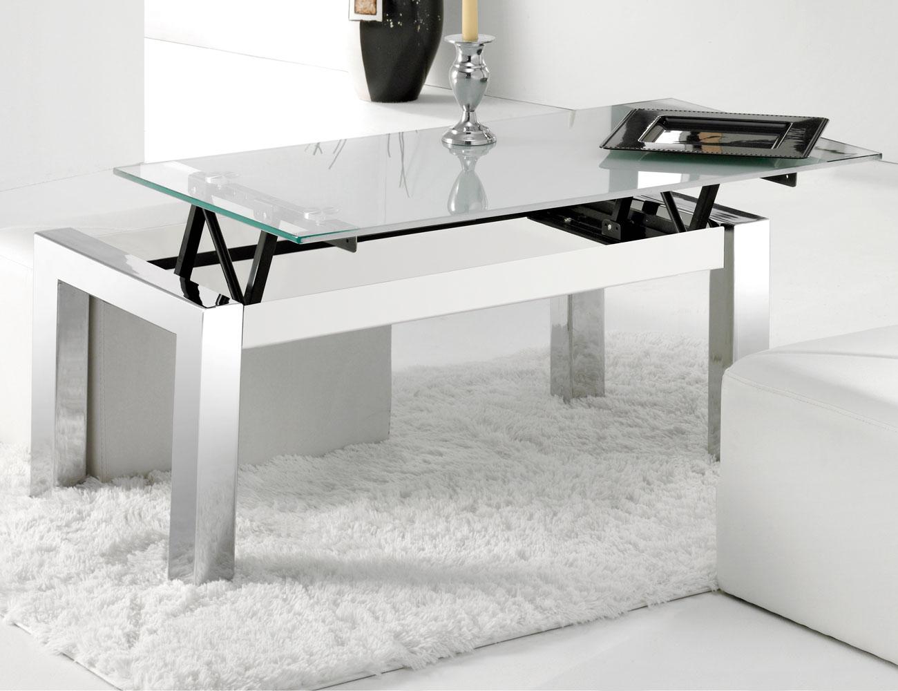 mesa de centro elevable con patas cromo y tapa en cristal