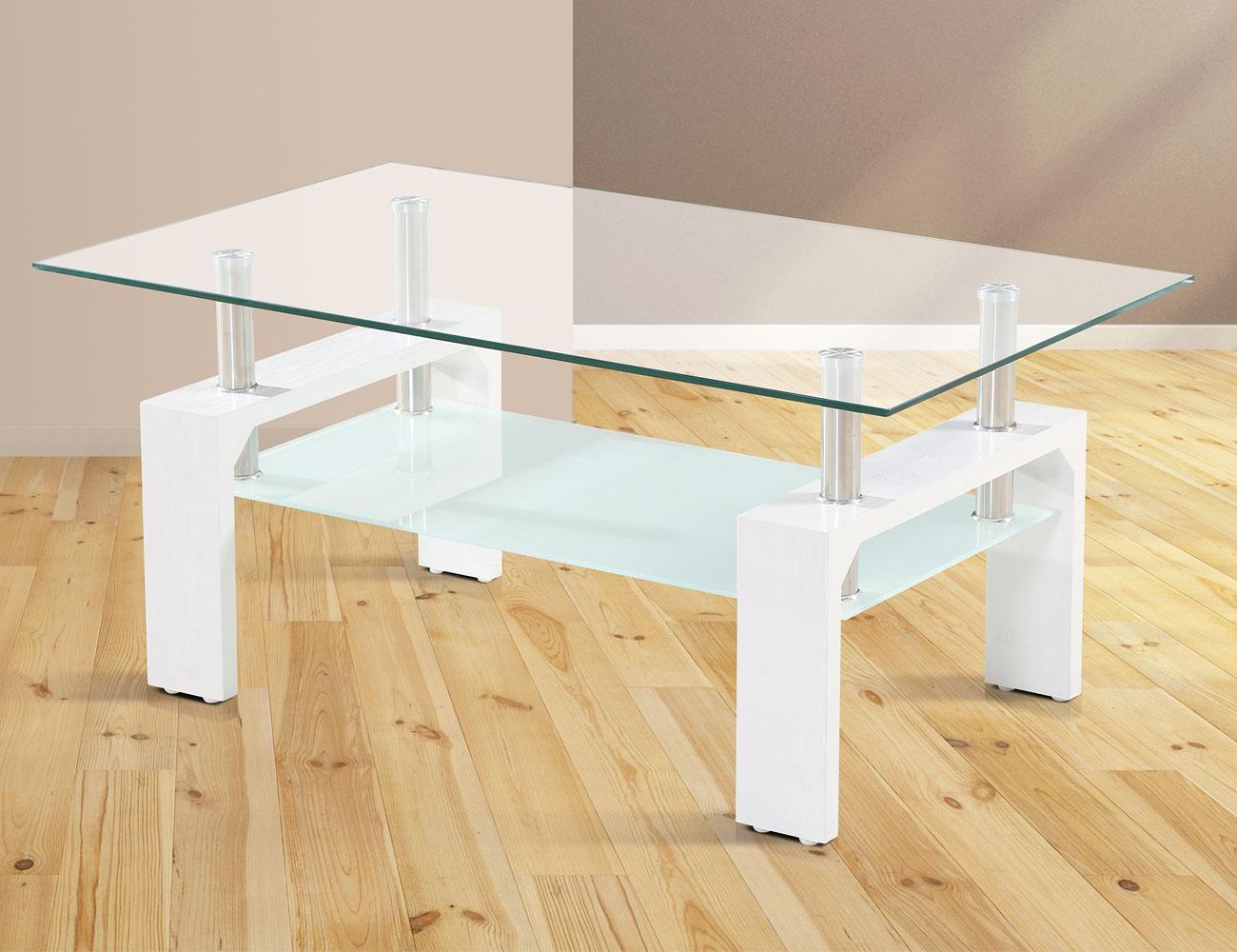 Mesa de centro fija con cristal en color cambrian 19124 - Mesa cristal blanco ...