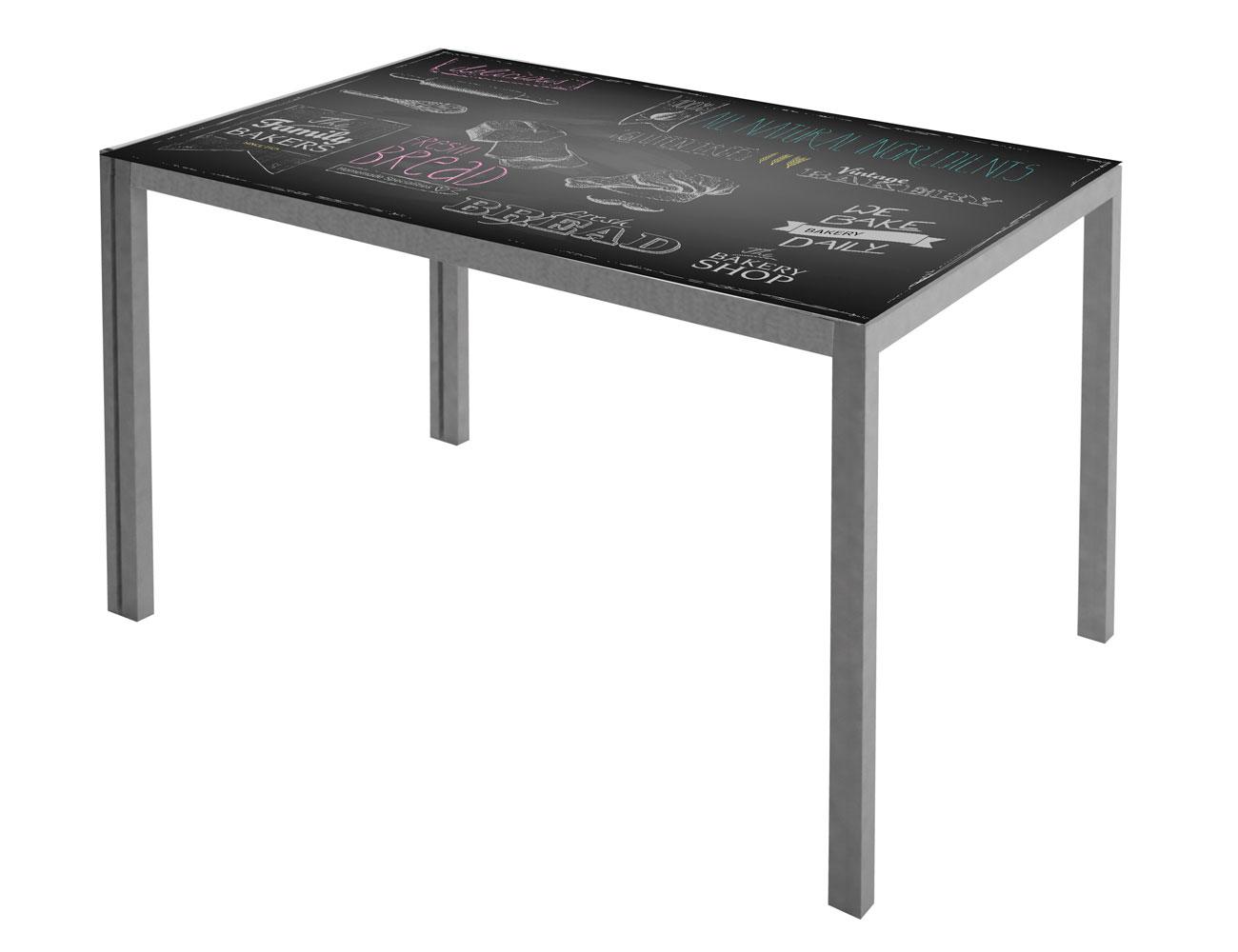 Mesa de cocina con cristal templando serigrafiado 3546 - Mesa cocina cristal templado ...