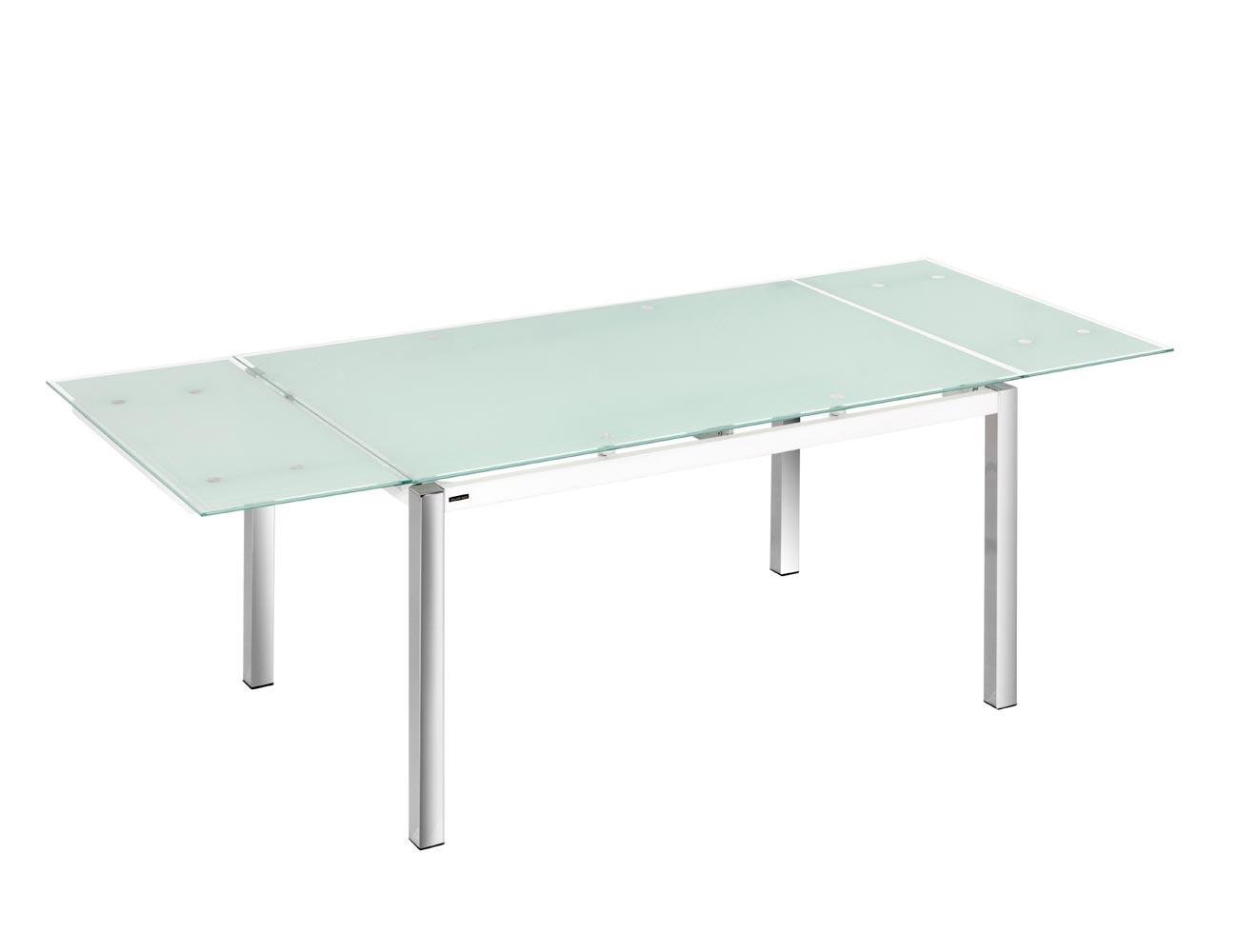 Mesa cocina cristal templado blanco extensible 207