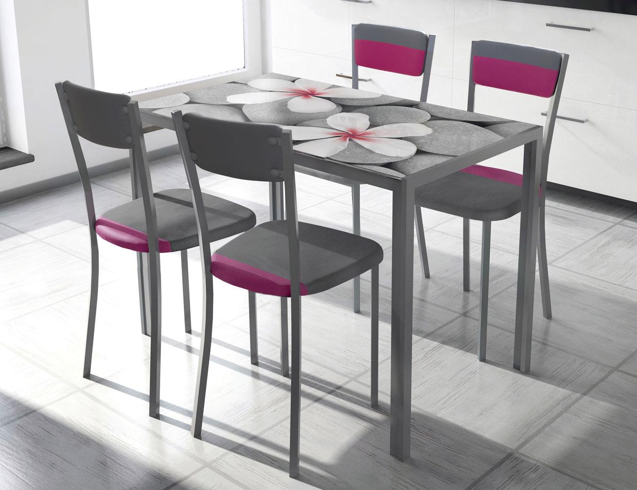 Mesa de cocina con cristal templando serigrafiado 3546 for Carritos con ruedas para cocina