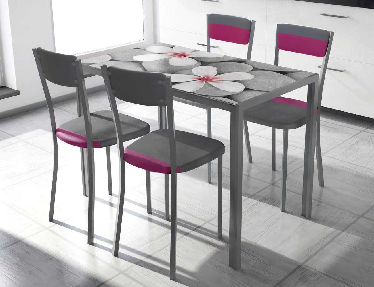mesa de cocina con cristal templando serigrafiado 3546