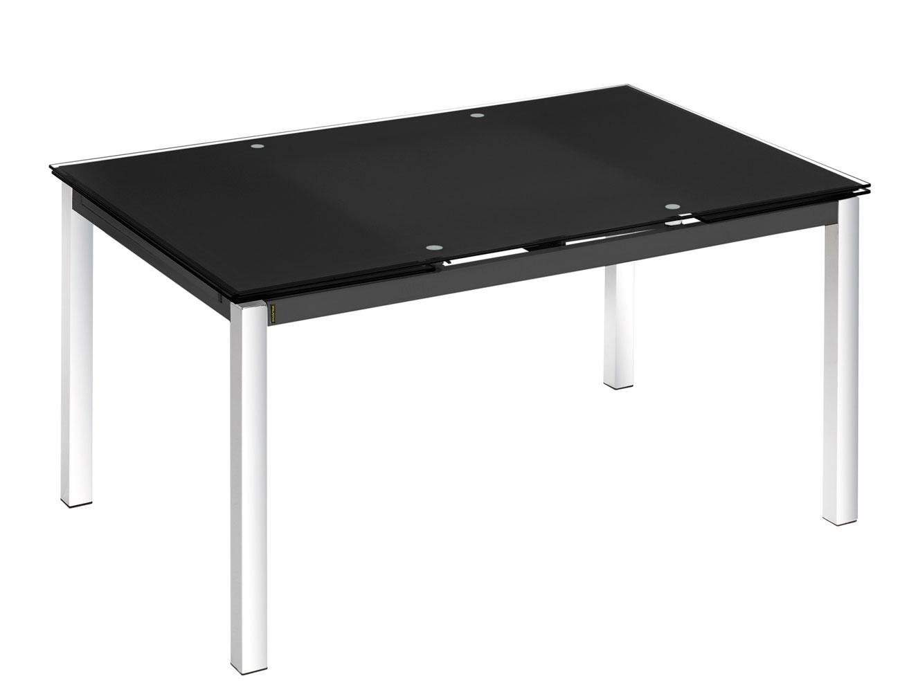 Mesa cocina cristal templado negra extensible 207