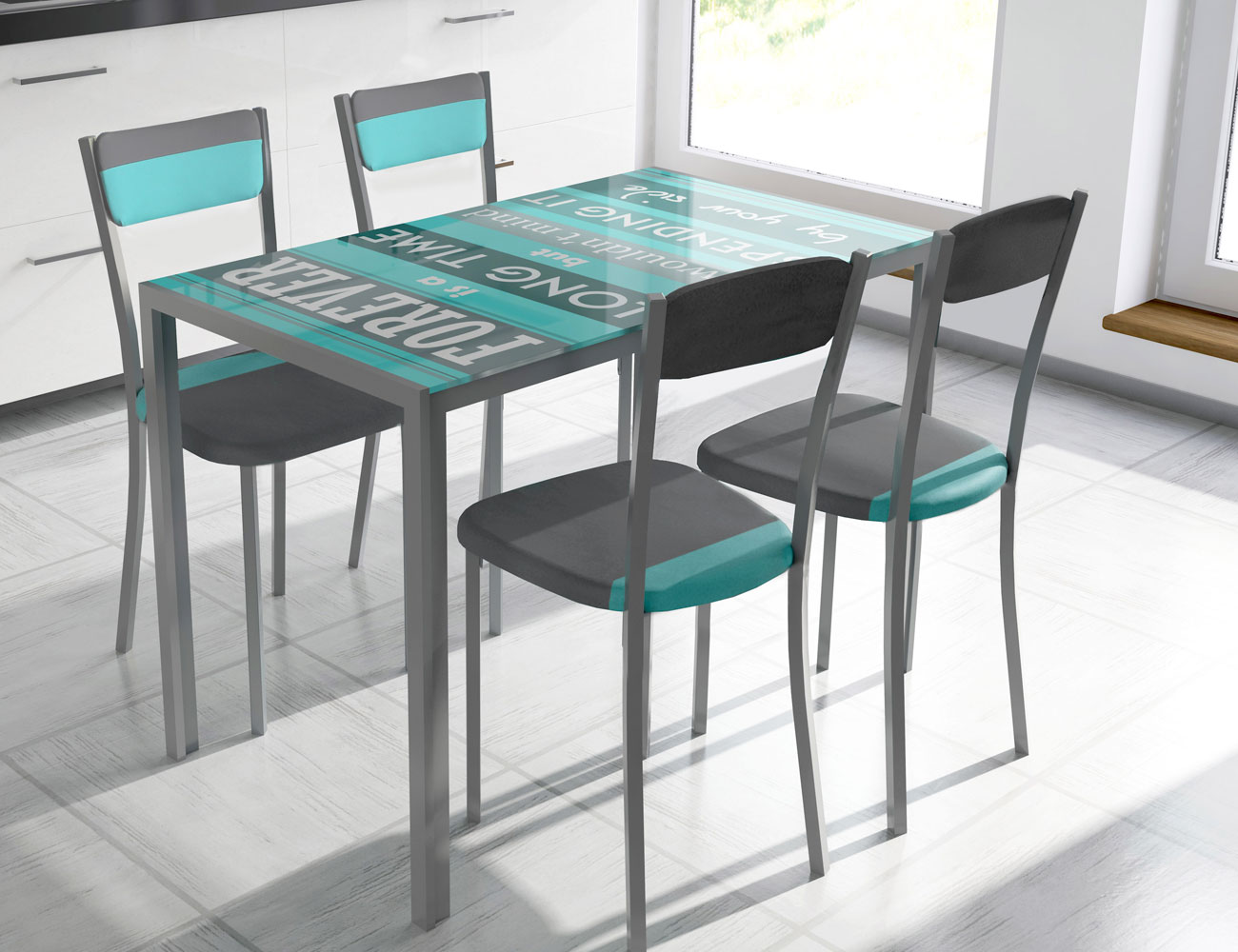Mesa de cocina con cristal templando serigrafiado 3546 for Mesas de cristal cocina